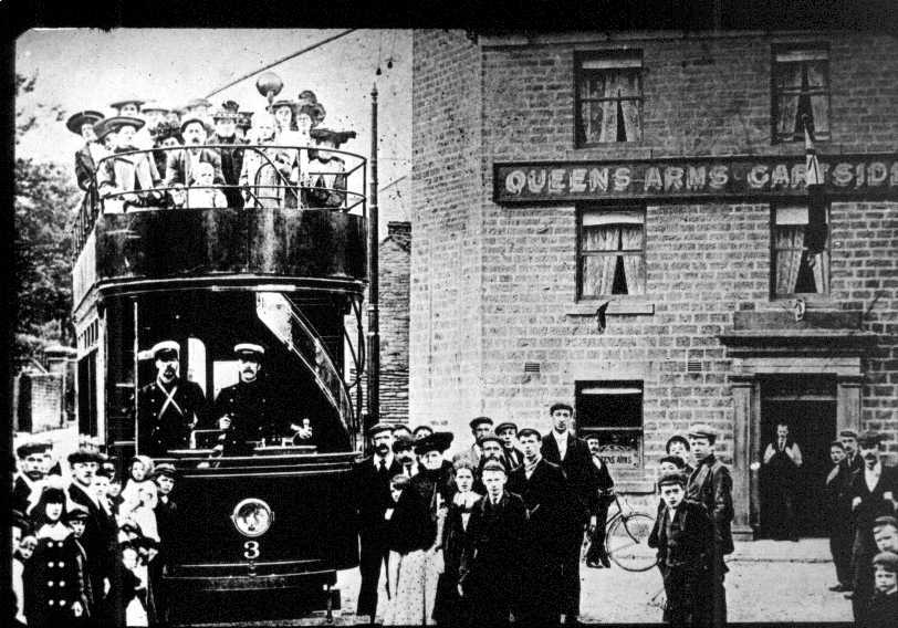 Tram outside the Queens Arms